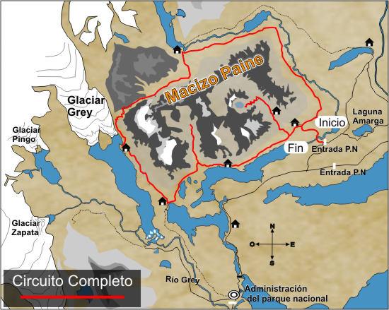 Circuito O Torres Del Paine : Circuito completo o grande mapa parque nacional torres del